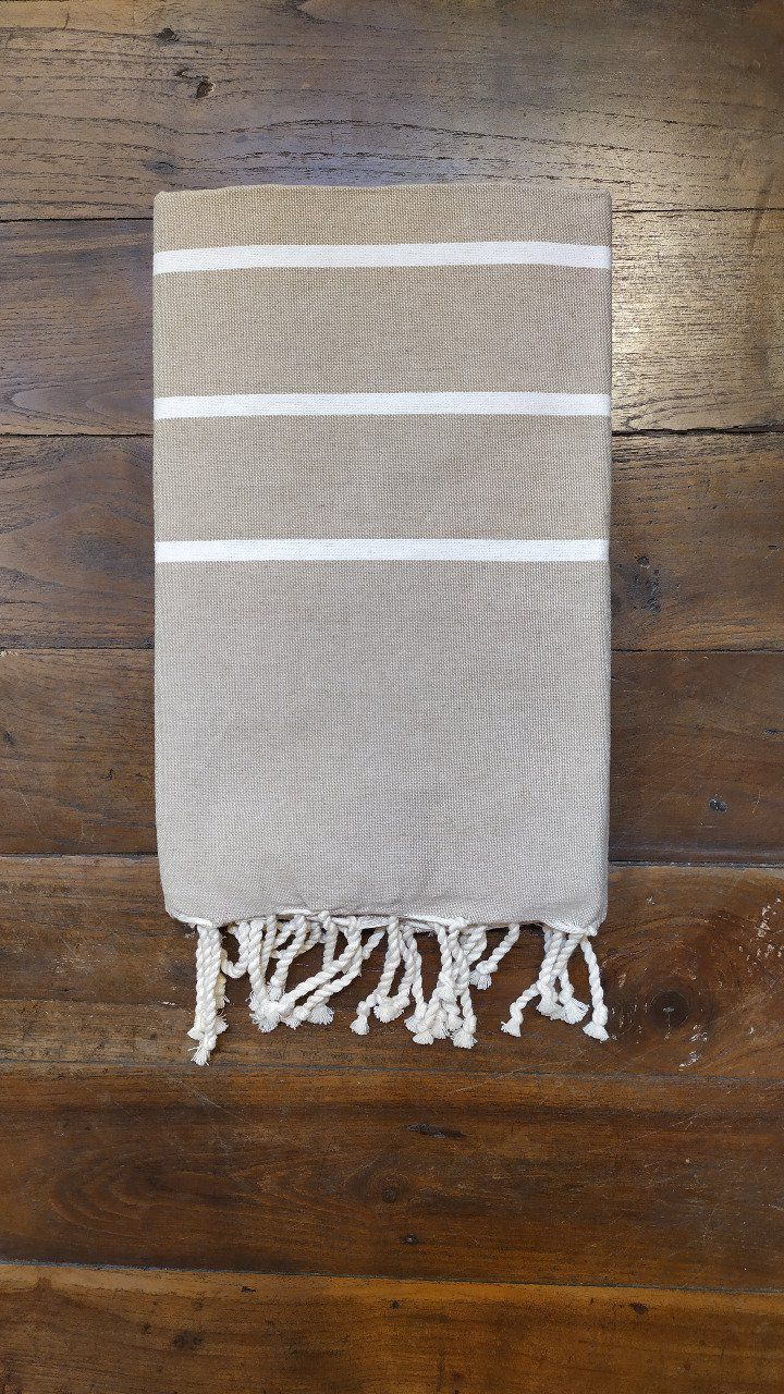 Fouta Beige/White thin stripe flat weaving 2x1m
