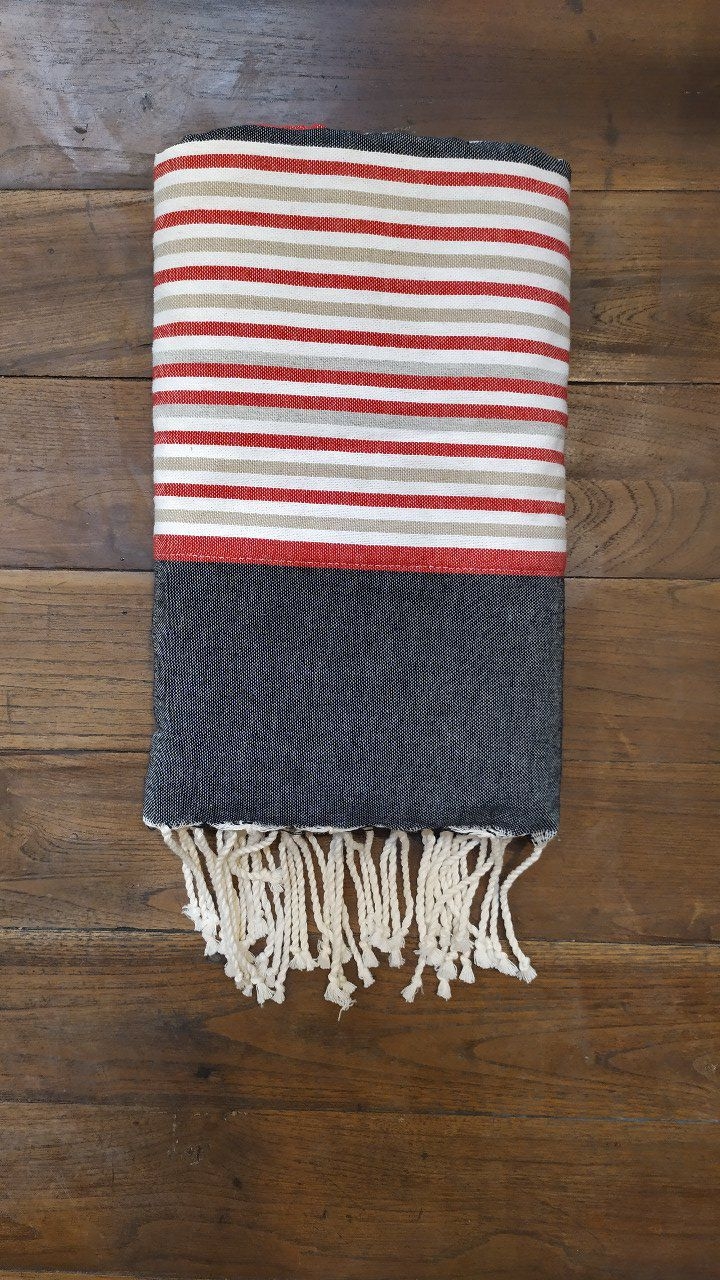 Fouta Double sided (frotté) Black Red white - Dark grey inside - 2x1m