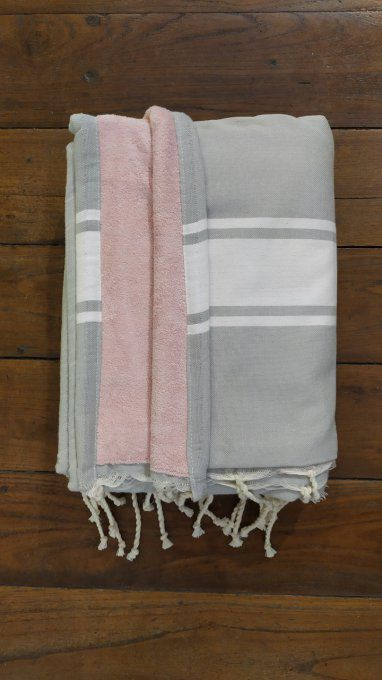 Fouta Double sided (frotté) with Velcro Pocket - Light Grey White stripe - Rose inside - 2x1m