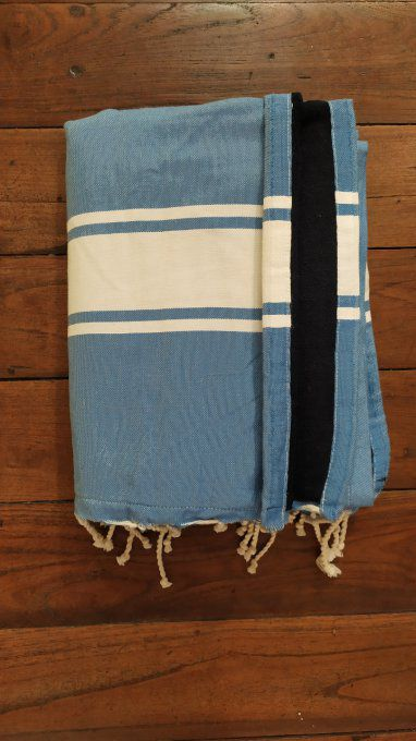 Fouta Double sided (frotté) with Velcro Pocket - Medium Blue White stripe - Mar Blue inside - 2x1m