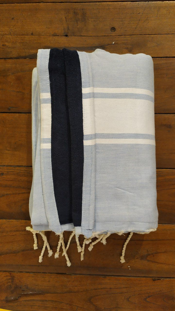 Fouta Double sided (frotté) with Velcro Pocket - Sky Blue White stripe - Marine Blue inside - 2x1m