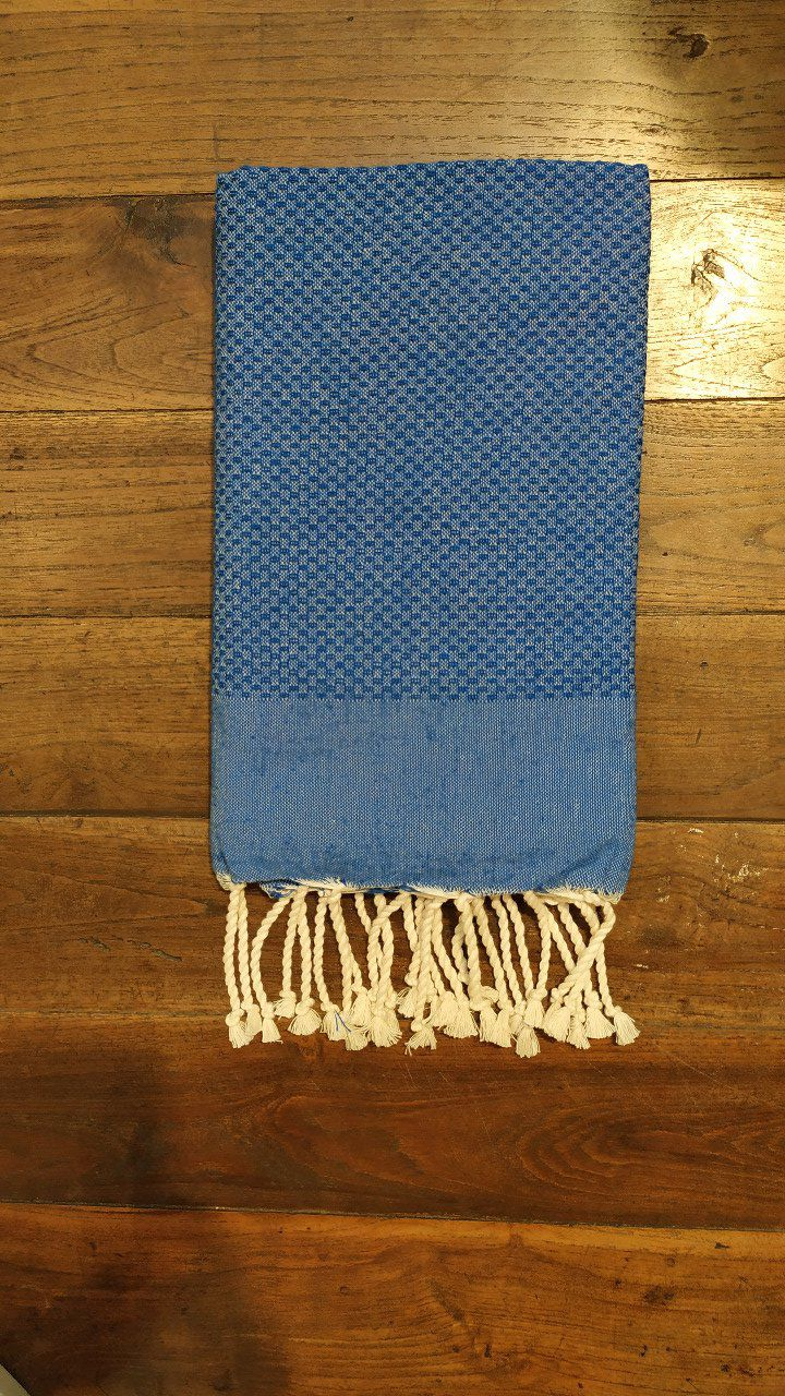 Fouta marine blue bumble bee weaving 2x1m