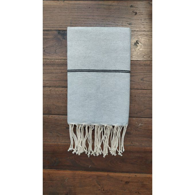 Fouta Nattée Light grey  Thin black stripe 2x1m