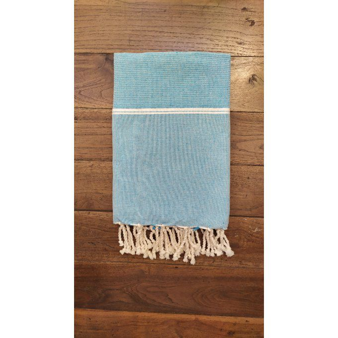 Fouta Nattée Sky blue  Thin White stripe 2x1m