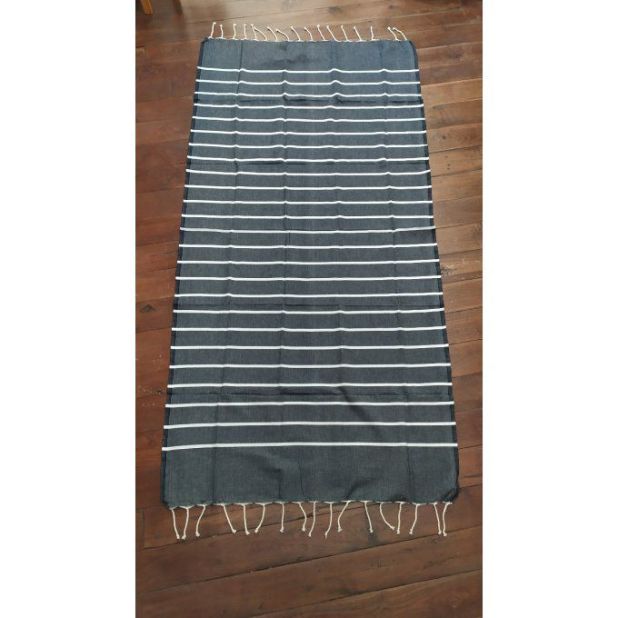Fouta Black/white thin stripe flat weaving 2x1m