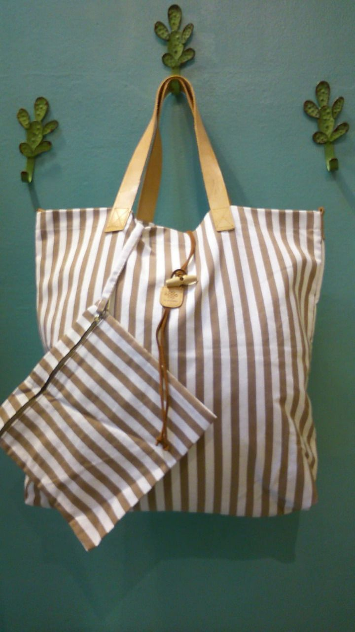 Italian Handmade bag with pocket attached inside - Brown stripes - 55x50cm