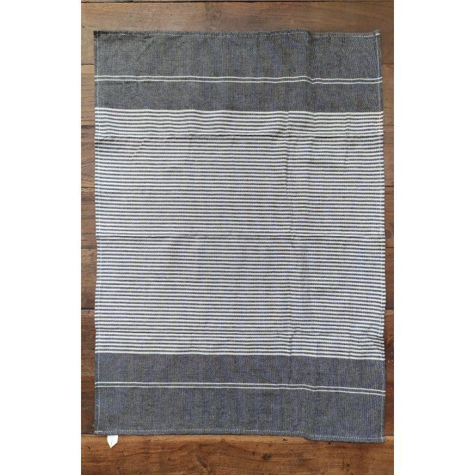 Kitchen Tea Towel - Brown Cream stripes - with buckle to hang - 70x45 cm