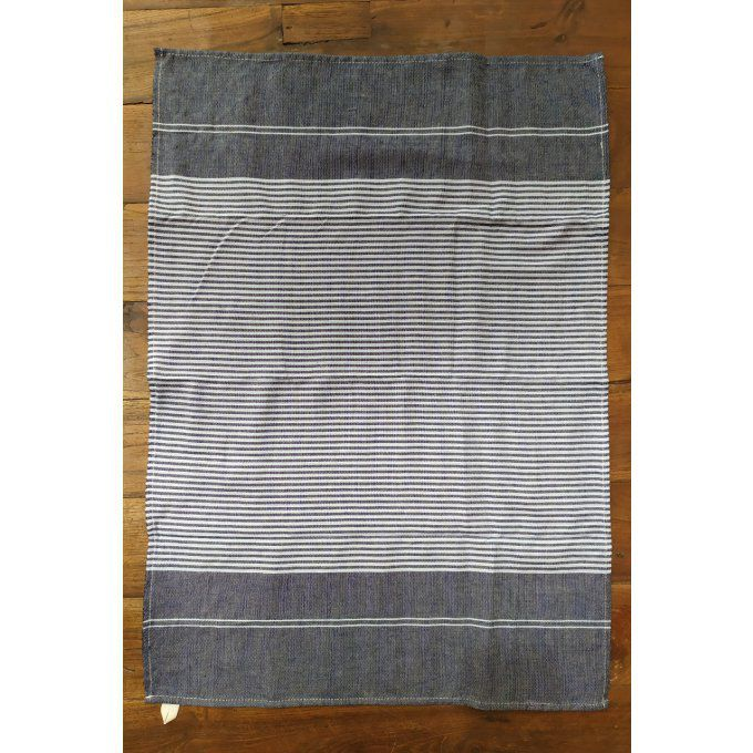 Kitchen Tea Towel - Marine Blue Sky Blue stripes - with buckle to hang - 70x45 cm