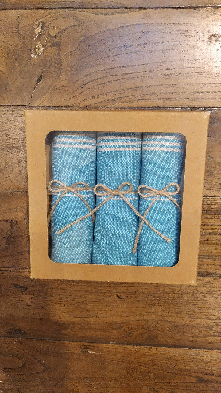 Kitchen Tea Towel with Bamboo- Box of three - Green Grey stripes - with buckle to hang - 70x45 cm