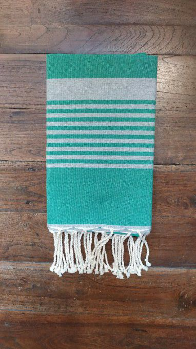 Fouta Arthur Green/Light Grey multi stripe  flat weaving 2x1m