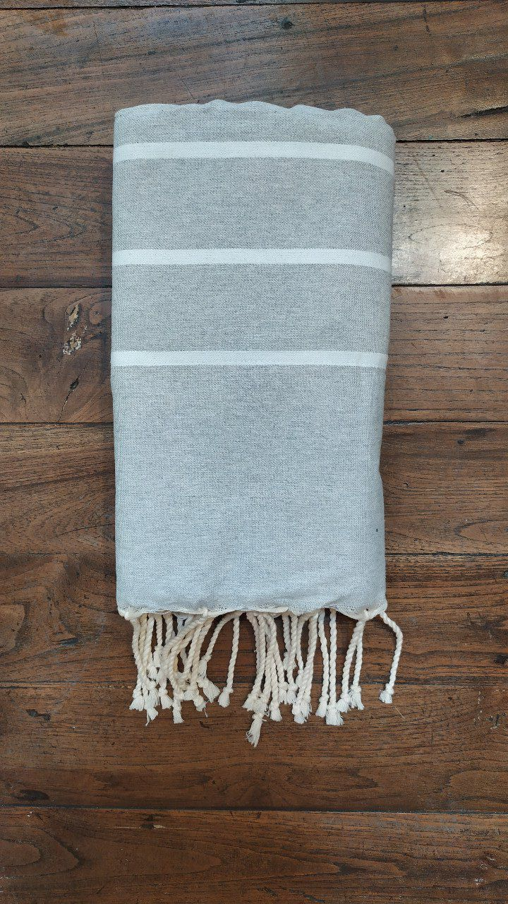 Fouta Double sided (frotté) Grey White stripes  - Mint inside - 2x1m