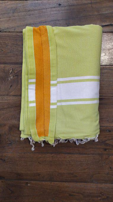Fouta Double sided (frotté) with Velcro Pocket - Apple Green White stripe - Orange inside - 2x1m