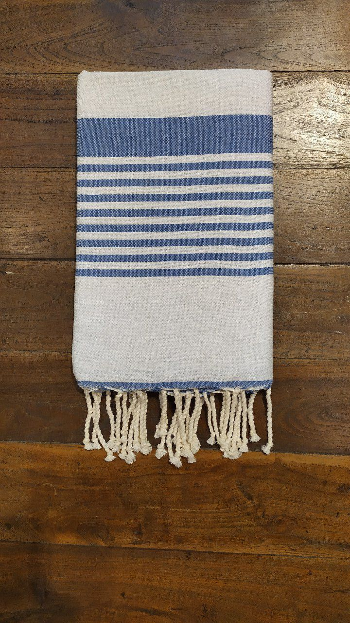 Fouta Arthur Light grey/blue multi stripe  flat weaving 2x1m