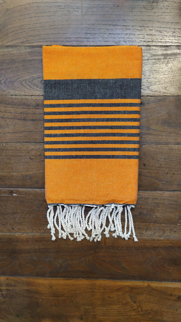 Fouta Arthur Orange/black multi stripe flat weaving 2x1m