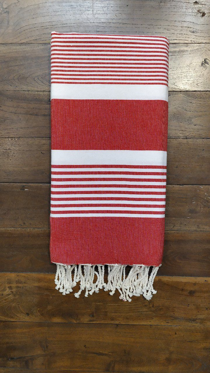 Fouta Red  White stripes  Flat weaving 2x2m