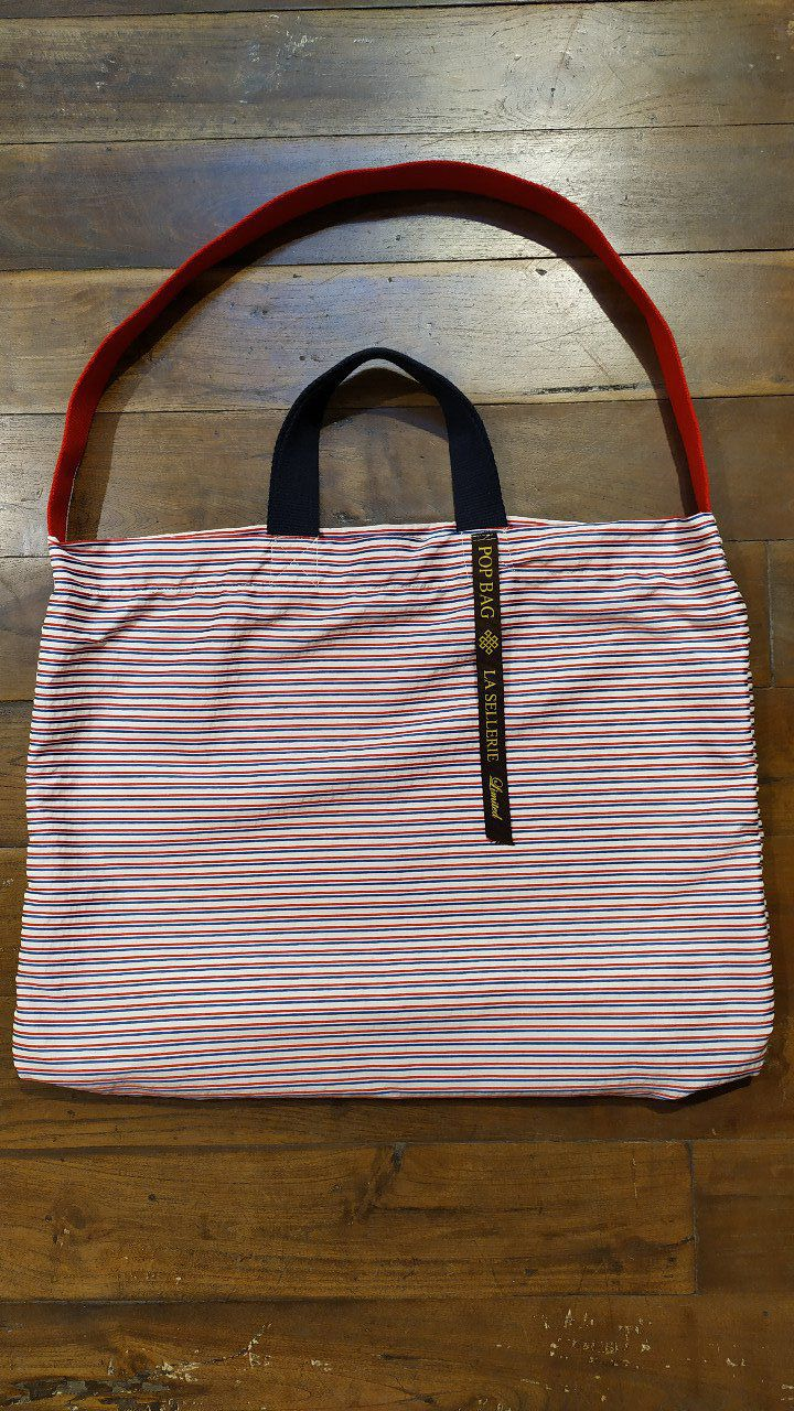 "Italian Handmade pop bag ""La Sellerie""  - White /Blue red stripes - 51x51cm"