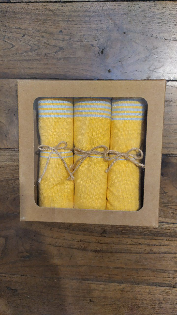 Kitchen Tea Towel with Bamboo- Box of three - Yellow blue stripes - with buckle to hang - 70x45 cm