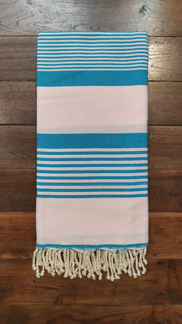 Fouta Baby rose  Turquoise stripes  Flat weaving 2x2m