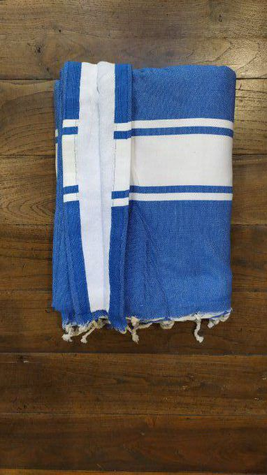 Fouta Double sided (frotté) with Velcro Pocket - Marine Blue White stripe - White inside - 2x1m