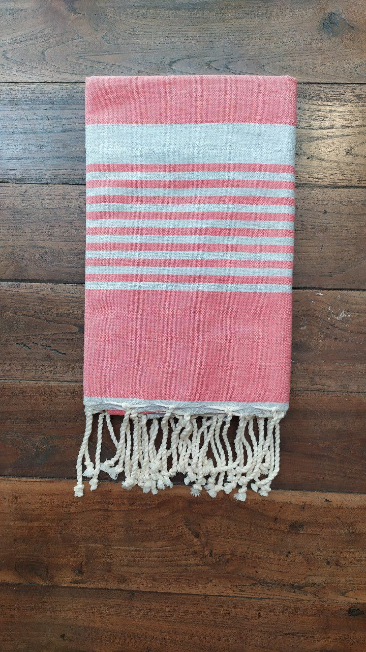 Fouta Arthur  Pink/grey multi stripe flat weaving 2x1m