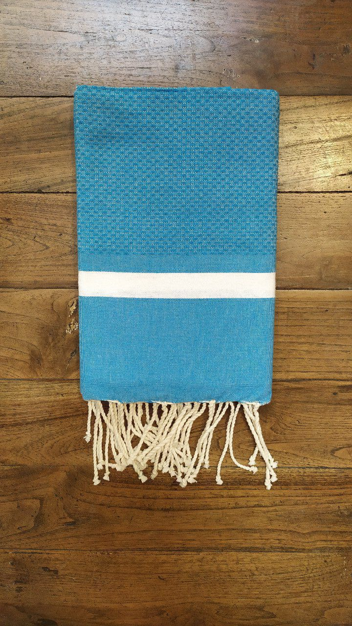 Fouta Turquoise 2  white stripe   bumble bee weaving 2x1m